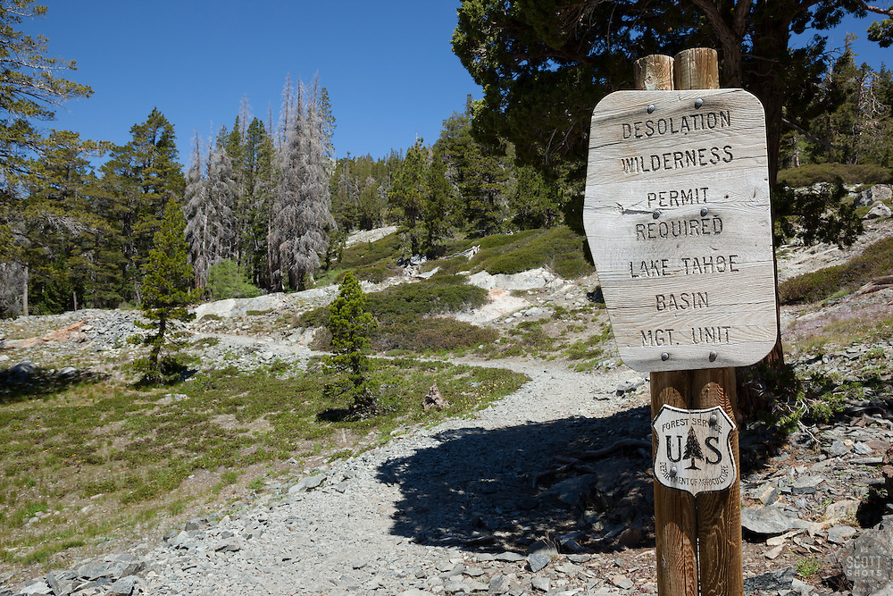 """""""Desolation Wilderness Sign 2"""" - This wood informational sign was photographed at the start of Desolation Wilderness above Echo Lake."""