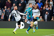 Derby County forward Wayne Rooney clears the ball during the EFL Sky Bet Championship match between Derby County and Hull City at the Pride Park, Derby, England on 18 January 2020.