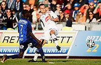 Fotball<br /> Tippeligaen<br /> Nadderud 30.03.14<br /> Stabæk - Sogndal<br /> Enock Adu i duell med Hjortur Logi Valgardsson<br /> Foto: Eirik Førde