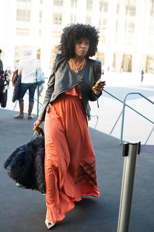 Maxi Dress and Leather Jacket, Outside Carolina Herrera