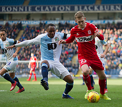 Ryan Nyambe of Blackburn Rovers (L) and George Saville of Middlesbrough in action - Mandatory by-line: Jack Phillips/JMP - 17/02/2019 - FOOTBALL - Ewood Park - Blackburn, England - Blackburn Rovers v Middlesbrough - English Football League Championship