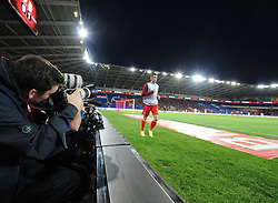 Photographers focus on Gareth Bale of Wales (Real Madrid) as he warms up   - Photo mandatory by-line: Joe Meredith/JMP - Tel: Mobile: 07966 386802 10/09/2013 - SPORT - FOOTBALL - Cardiff City Stadium - Cardiff -  Wales V Serbia- World Cup Qualifier
