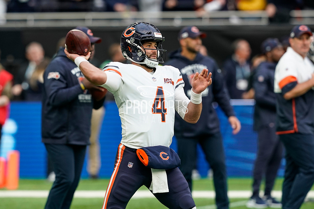 Chase Daniel (QB) of the Chicago Bears warms up during the International Series match between Oakland Raiders and Chicago Bears at Tottenham Hotspur Stadium, London, United Kingdom on 6 October 2019.