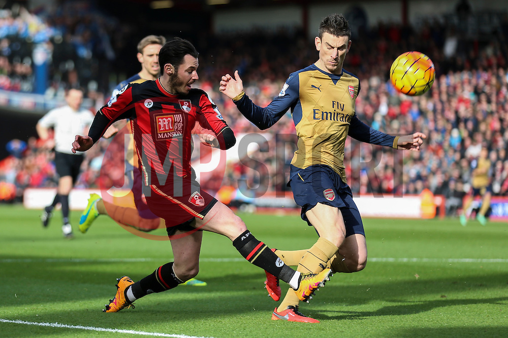Adam Smith of Bournemouth puts Arsenal under pressure early - Mandatory by-line: Jason Brown/JMP - Mobile 07966 386802 07/02/2016 - SPORT - FOOTBALL - Bournemouth, Vitality Stadium - AFC Bournemouth v Arsenal - Barclays Premier League