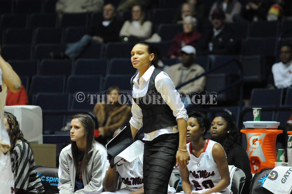 """Ole Miss assistant coach Armintie Price vs. Arkansas at the C.M. """"Tad"""" Smith Coliseum in Oxford, Miss. on Thursday, January 12, 2012. Ole Miss won 60-54."""