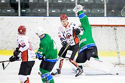 Blaz Tomazevic of HK SZ Jesenice vs Robert Kristan of HK SZ Olimpija during ice hockey match between HK SZ Olimpija and HDD SIJ Acroni Jesenice in AHL - Alps Hockey League 2017/18, on October 25, 2017 in Hala Tivoli, Ljubljana, Slovenia. Photo by Matic Klansek Velej / Sportida