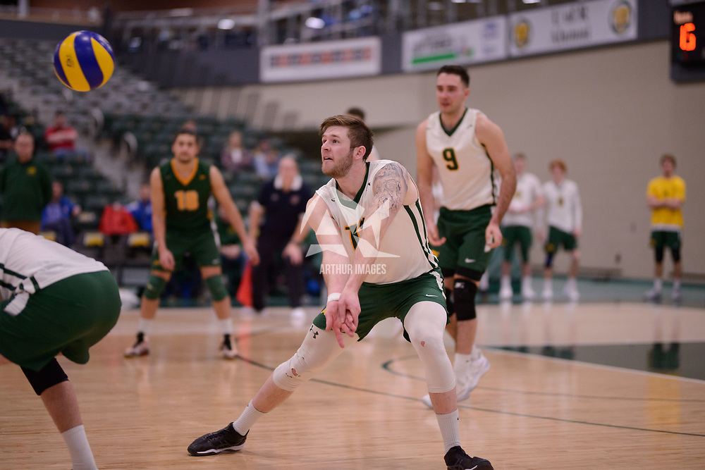 4th year outside hitter Brennan Goski (13) of the Regina Cougars in action during Men's Volleyball home game on February 3 at Centre for Kinesiology, Health and Sport. Credit: Arthur Ward/Arthur Images