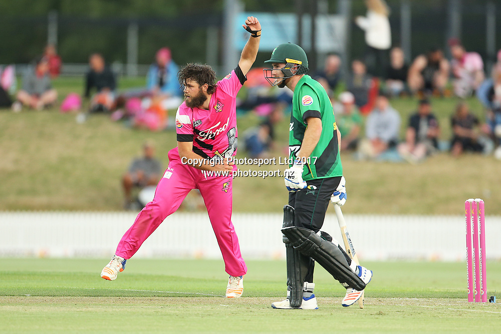 Knights Josef Walker bowling during the Burger King Super Smash Twenty20 cricket match Knights v Stags played at Bay Oval, Mount Maunganui, New Zealand on Wednesday 27 December 2017.<br /> <br /> Copyright photo: © Bruce Lim / www.photosport.nz