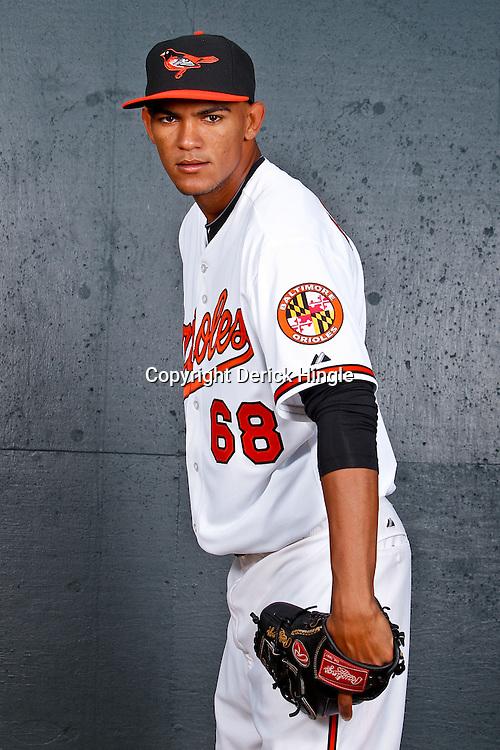 February 26, 2011; Sarasota, FL, USA; Baltimore Orioles relief pitcher Adrian Rosario (68) poses during photo day at Ed Smith Stadium.  Mandatory Credit: Derick E. Hingle