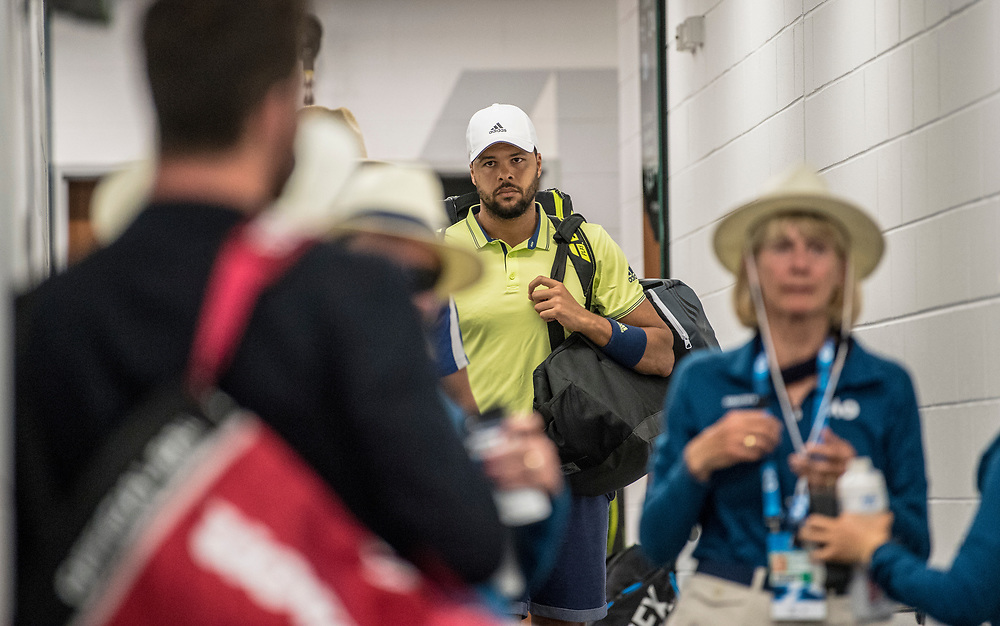 Jo-Wilfried Tsonga of France on day three of the 2018 Australian Open in Melbourne Australia on Wednesday January 17, 2018..<br /> (Ben Solomon/Tennis Australia)