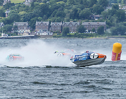 The P1 Scottish Grand Prix of the Sea is the second of four events across the UK for the P1 Powerboat Championship taking place at Greenock.<br /> <br /> <br /> Pictured: Pertemps Network team leading Milford Waterfront Pembrokeshire Panther and Platinum Products teams