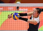 RIO DE JANEIRO, BRAZIL - AUGUST 16:<br /> <br /> Zhang Changning #9 of China in action during the Women\'s Quarterfinal match between China and Brazil on day 11 of the Rio 2106 Olympic Games at the Maracanazinho on August 16, 2016 in Rio de Janeiro, Brazil.<br /> ©Exclusivepix Media