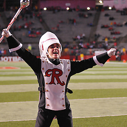 Oct 16, 2009; Piscataway, NJ, USA; The Rutgers Marching Band Drum Major encourages the student section before NCAA football action between Rutgers and Pittsburgh at Rutgers Stadium