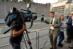 © Licensed to London News Pictures. 04/09/2014. Cardiff, UK.  TV crews at Cardiff Castle on Thursday evening during protests against the NATO summit being held at The Celtic Manor resort at Newport. Heads of state were due to have dinner at Cardiff Castle.  Photo credit : Simon Chapman/LNP