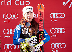15.03.2018, Aare, SWE, FIS Weltcup Ski Alpin, Finale, Aare, SuperG, Damen, Siegerehrung, im Bild Sofia Goggia (ITA, 1. Platz, Tageswertung SuperG) singt die Italienische Hymne // today Super G race winner Sofia Goggia of Italy sing along with the Italian anthem during the winner Ceremony for the ladie's SuperG of FIS Ski Alpine World Cup finals in Aare, Sweden on 2018/03/15. EXPA Pictures © 2018, PhotoCredit: EXPA/ Johann Groder