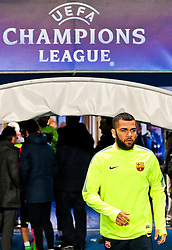 Dani Alves of FC Barcelona walks out on to the pitch to train ahead of the UEFA Champions League tie against Manchester City - Photo mandatory by-line: Matt McNulty/JMP - Mobile: 07966 386802 - 23/02/2015 - SPORT - Football - Manchester - Etihad Stadium