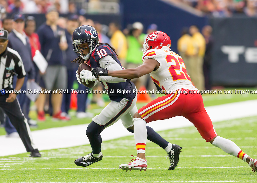 18 September, 2016:  Kansas City Chiefs cornerback Marcus Peters (22) attempts to tackle Houston Texans wide receiver DeAndre Hopkins (10) during the NFL game between the Kansas City Chiefs and Houston Texans at NRG Stadium in Houston, Texas.  (Photograph by Leslie Plaza Johnson/Icon Sportswire)