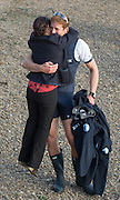 London, Great Britain, Henry GOODIER get a hug from Zoe DE TOLEDO on the Chiswick Foreshore,  The BNY Mellon Men's Boat Race, Men's Race , Championship Course.  River Thames. Putney to Mortlake. ENGLAND. <br /> <br /> 18:17:15  Saturday  11/04/2015<br /> <br /> [Mandatory Credit; Peter Spurrier/Intersport-images]<br /> <br /> OUBC Crew: <br /> Will GEFFEN,  James O'CONNOR, Henry GOODIER, Tom SWARTZ, Jamie COOK, Mike DISANTO, Sam O'CONNER, Constantine LOULOUDIS and cox Will HAKIM