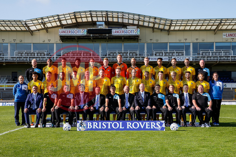 First Team Photo in Away Kit with additional personnel - Mandatory byline: Rogan Thomson/JMP - 07966 386802 - 07/09/2015 - FOOTBALL - Memorial Stadium - Bristol, England - Bristol Rovers Team Photos.