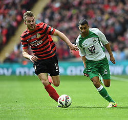 Wrexham's Steve Tomassen competes with North Ferriby's Jason St Juste - Photo mandatory by-line: Paul Knight/JMP - Mobile: 07966 386802 - 29/03/2015 - SPORT - Football - London - Wembley Stadium - North Ferriby United v Wrexham - FA Trophy