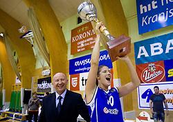 Dusan Sesok and Kristina Verbole at cup ceremony at finals match of Slovenian 1st Women league between KK Hit Kranjska Gora and ZKK Merkur Celje, on May 14, 2009, in Arena Vitranc, Kranjska Gora, Slovenia. Merkur Celje won the third time and became Slovenian National Champion. (Photo by Vid Ponikvar / Sportida)