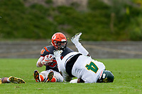 KELOWNA, BC - SEPTEMBER 22:  Kelton Kouri #38 of Okanagan Sun avoids the tackle by David Steeves #4 of the Valley Huskers at the Apple Bowl on September 22, 2019 in Kelowna, Canada. (Photo by Marissa Baecker/Shoot the Breeze)