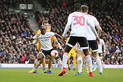Fulham midfielder Neeskens Kebano (07) battles for possession with Preston North End defender Tom Clarke (5) during the EFL Sky Bet Championship match between Fulham and Preston North End at Craven Cottage, London, England on 4 March 2017. Photo by Matthew Redman.