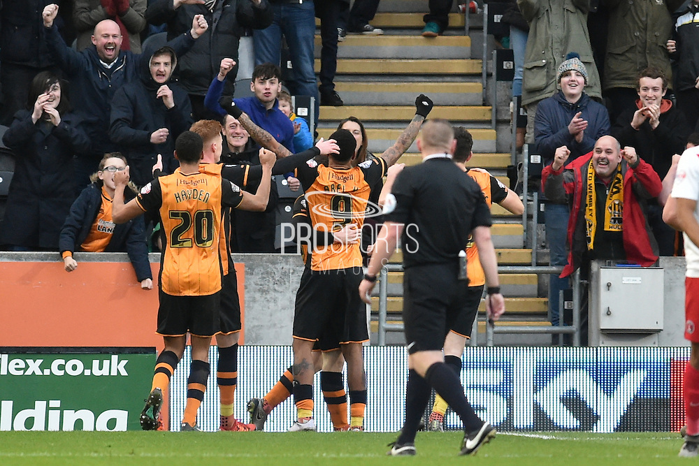 Hull City striker Abel Hernandez (9) celebrates scoring his 3rd goal  during the Sky Bet Championship match between Hull City and Charlton Athletic at the KC Stadium, Kingston upon Hull, England on 16 January 2016. Photo by Ian Lyall.