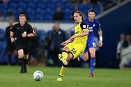 Joe Sbarra of Burton Albion in action. Carabao Cup 2nd round match, Cardiff city v Burton Albion at the Cardiff City Stadium in Cardiff, South Wales on Tuesday 22nd August  2017.<br /> pic by Andrew Orchard, Andrew Orchard sports photography.