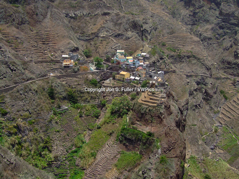 The small farming village of Fontainhas with terraced fields built on the slopes of the steep hillsides.  Santo Antao, Republic of Cabo Verde, Africa.