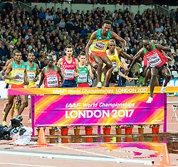 The men's 3,000m steeplechase final on day five of the IAAF London 2017 world Championships at the London Stadium. © Paul Davey.