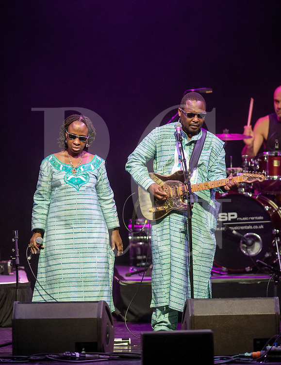 GLASGOW, UNITED KINGDOM - JANUARY 22: Mariam Doumbia and Amadou Bagayoko of Amadou & Mariam performs on stage during Celtic Connections Festival at Glasgow Royal Concert Hall on January 22, 2014  in Glasgow, United Kingdom. (Photo by Ross Gilmore