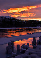 A fiery winter sunrise along the Yukon River