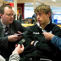 St Johnstone v Eskisehirspor....18.07.12  Uefa Cup Qualifyer<br /> Murray Davidson being interviewed at Edinburgh Airport<br /> Picture by Graeme Hart.<br /> Copyright Perthshire Picture Agency<br /> Tel: 01738 623350  Mobile: 07990 594431