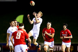 Josh Hodge of England U20 catches the ball - Mandatory by-line: Robbie Stephenson/JMP - 22/02/2019 - RUGBY - Zip World Stadium - Colwyn Bay, Wales - Wales U20 v England U20 - Under-20 Six Nations