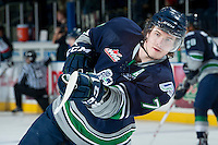 KELOWNA, CANADA -FEBRUARY 10: Mitch Elliot #7 of the Seattle Thunderbirds takes a shot during warm up against the Kelowna Rockets on February 10, 2014 at Prospera Place in Kelowna, British Columbia, Canada.   (Photo by Marissa Baecker/Getty Images)  *** Local Caption *** Mitch Elliot;