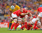 Wales scrum half Gareth Davies<br /> passes the ball during the Rugby World Cup Pool A match between Australia and Wales at Twickenham, Richmond, United Kingdom on 10 October 2015. Photo by Ian Muir.during the Rugby World Cup Pool A match between Australia and Wales at Twickenham, Richmond, United Kingdom on 10 October 2015. Photo by Ian Muir.