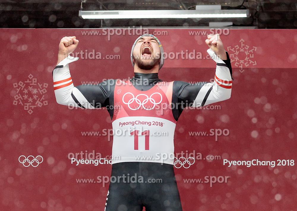 11.02.2018, Olympic Sliding Centre, Pyeongchang, KOR, PyeongChang 2018, Rodeln, Herren, flowers ceremony, im Bild David Gleirscher (AUT, 1. Platz und Goldmedaillengewinner) // gold medalist and Olympic champion David Gleirscher of Austria during the flowers ceremony of the Men's Luge Singles competition at the Olympic Sliding Centre in Pyeongchang, South Korea on 2018/02/11. EXPA Pictures © 2018, PhotoCredit: EXPA/ Johann Groder