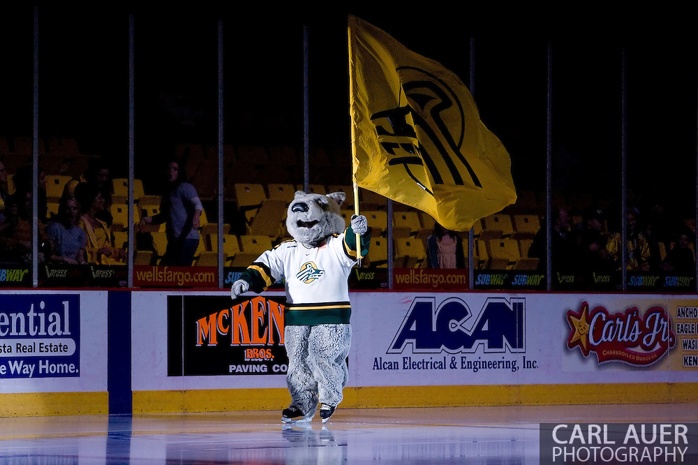 October 13, 2007 - Anchorage, Alaska:  The Seawolves mascot takes the ice prior to the 4th game of the Nye Frontier Classic at the Sullivan Arena.