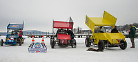 Lakes Region Ice Racing Club's modified race cars at Meredith Bay in preparation for the nostalgic Latchkey Cup in celebration of Meredith's 250th on Saturday, February 17th.  (Karen Bobotas/for the Laconia Daily Sun)