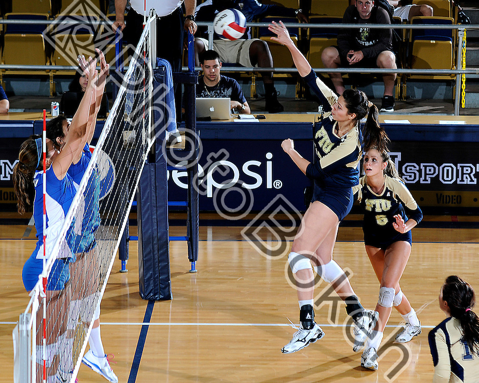2011 November 08 - FIU's Sabrina Gonzalez (12) spiking the ball. Florida International University defeated Florida Gulf Coast University, 3-0, at U.S. Century Bank Arena, Miami, Florida. (Photo by: www.photobokeh.com / Alex J. Hernandez) 1/250 f/5 ISO200 180mm