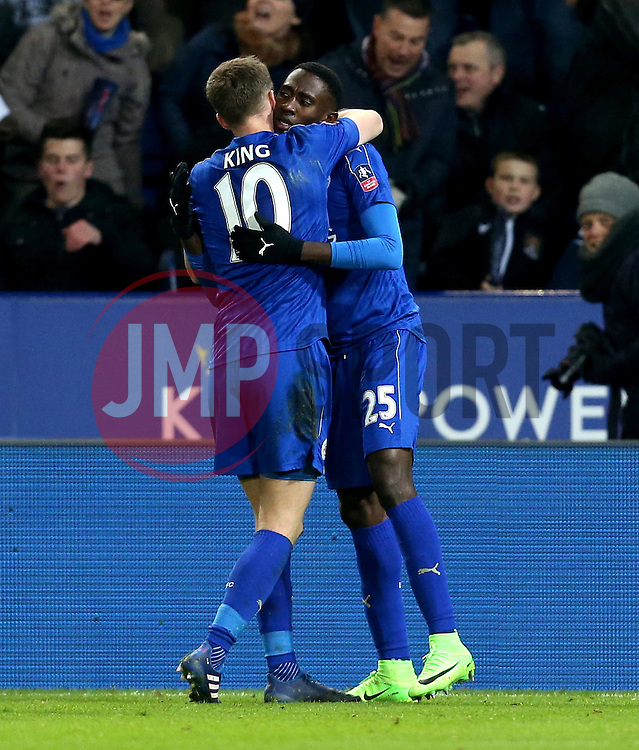 Wilfred Ndidi of Leicester City celebrates with Andy King after scoring a goal - Mandatory by-line: Robbie Stephenson/JMP - 08/02/2017 - FOOTBALL - King Power Stadium - Leicester, England - Leicester City v Derby County - Emirates FA Cup fourth round replay