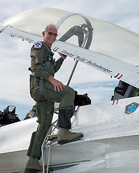 May 4, 2017 - Travis, CA, United States - Former hero airline pilot Chesley Sully Sullenberger III poses for a photo before climbing into the cockpit for a flight with the USAF Thunderbirds at Travis Air Force Base May 4, 2017 in Travis, California. Sullenberger is a 1973 Air Force Academy graduate and is best known for successfully landing a crippled airliner in the Hudson River saving the lives of a 155 passengers. (Credit Image: © Louis Briscese/Planet Pix via ZUMA Wire)