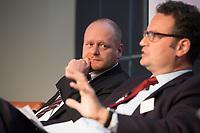 """13 JUN 2012, BERLIN/GERMANY:<br /> Bernd Schloemer (L), Bundesvorsitzender, Piratenpartei Deutschland, und Dr. Guenter Krings (R), MdB, CDU, stellv. Fraktionsvorsitzender, CDU/CSU, Diskussionsveranstaltung """"Neue Prespektiven im Urheberrecht"""", Verband Privater Rundfunk und Telemedien e.V., vprt, Bertelsmann-Repräsentanz<br /> IMAGE: 20120613-01-211<br /> KEYWORDS: Bernd Schlömer, Günter Krings"""