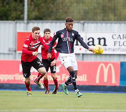 Dunfermline's Lewis Martin holds Falkirk's Myles Hippolyte. Falkirk 2 v 1 Dunfermline, Scottish Championship game played 15/10/2016, at The Falkirk Stadium.