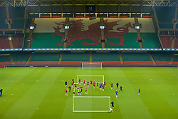 CARDIFF, WALES - Wednesday, October 10, 2018: Wales' xxxx during a training session at the Principality Stadium ahead of the International Friendly match between Wales and Spain. (Pic by David Rawcliffe/Propaganda)