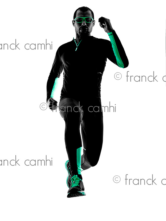 one man runner jogger  running jogging  in silhouette isolated on white background