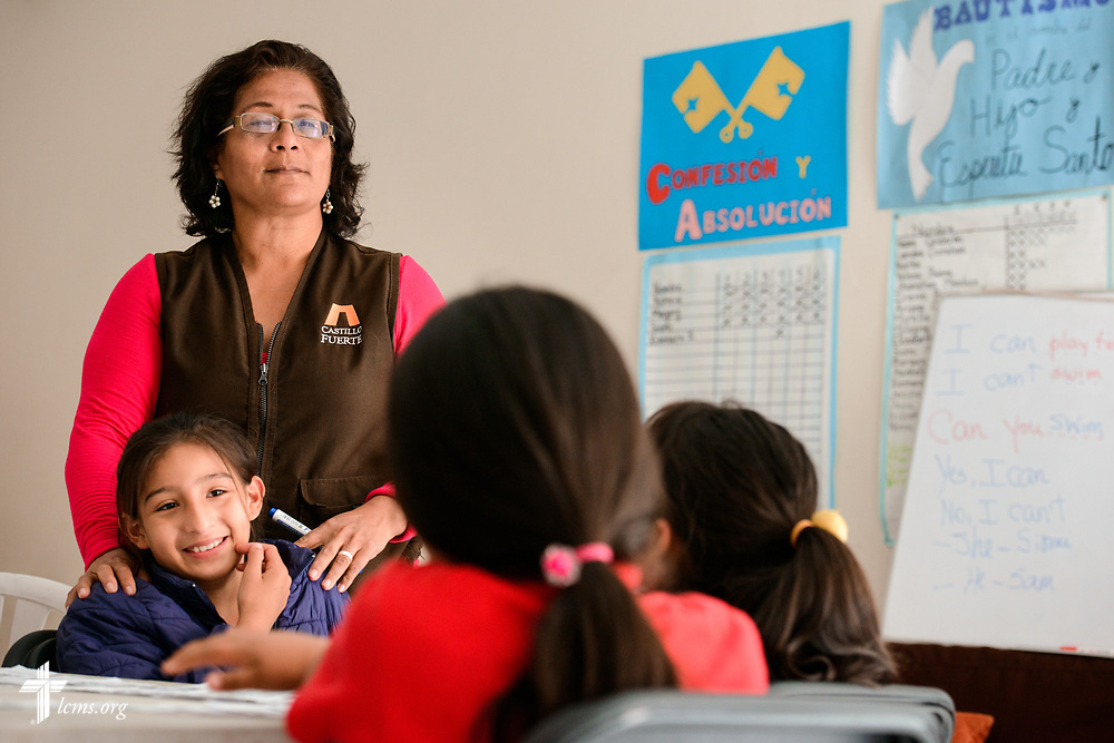 Children at Castillo Fuerte attend English instruction under the watchful eyes of a teacher on Monday, Nov. 6, 2017, in the La Victoria district of Lima, Peru.  LCMS Communications/Erik M. Lunsford