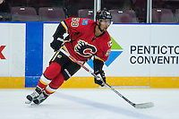 PENTICTON, CANADA - SEPTEMBER 16: Oliver Kylington #58 of Calgary Flames warms up against the Winnipeg Jets on September 16, 2016 at the South Okanagan Event Centre in Penticton, British Columbia, Canada.  (Photo by Marissa Baecker/Shoot the Breeze)  *** Local Caption *** Oliver Kylington;
