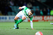 Yeovil Town's Jack Compton slips on the increasingly frosty pitch during the The FA Cup Third Round Replay match between Yeovil Town and Carlisle United at Huish Park, Yeovil, England on 19 January 2016. Photo by Graham Hunt.